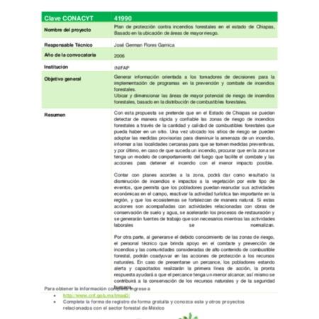 Plan de protección contra incendios forestales en el estado de Chiapas, Basado en la ubicación de áreas de mayor riesgo.