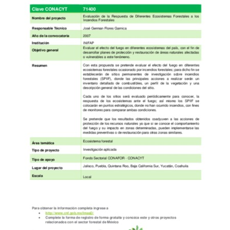 Evaluación de la Respuesta de Diferentes Ecosistemas Forestales a los Incendios Forestales,