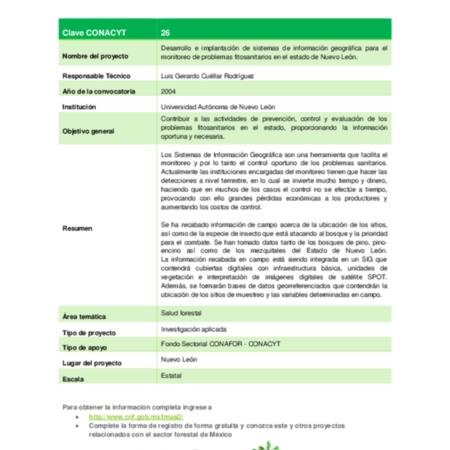 Desarrollo e implantación de sistemas de información geográfica para el monitoreo de problemas fitosanitarios en el estado de Nuevo León.